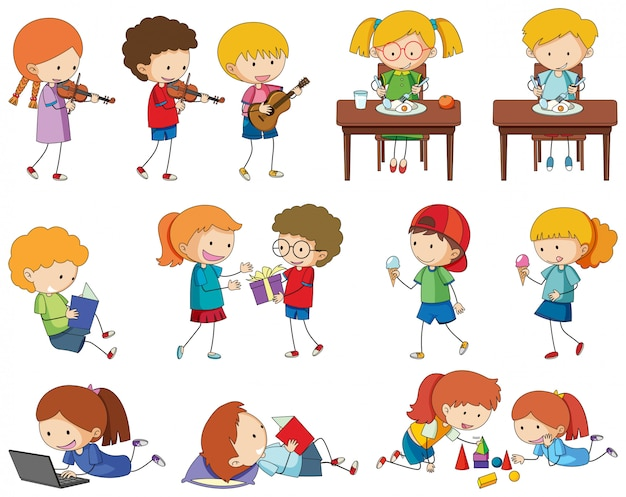 Set of doodle kids character Vector | Free Download
