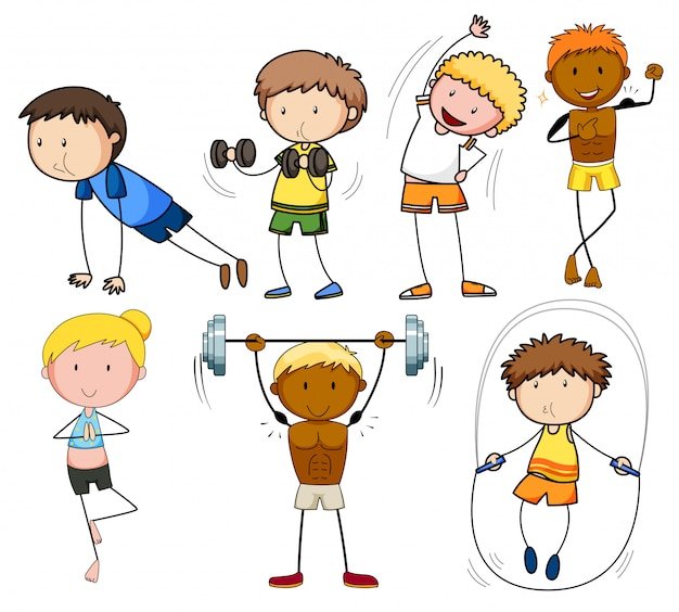 A Set Of Doodle Kids Exercise Premium Vector
