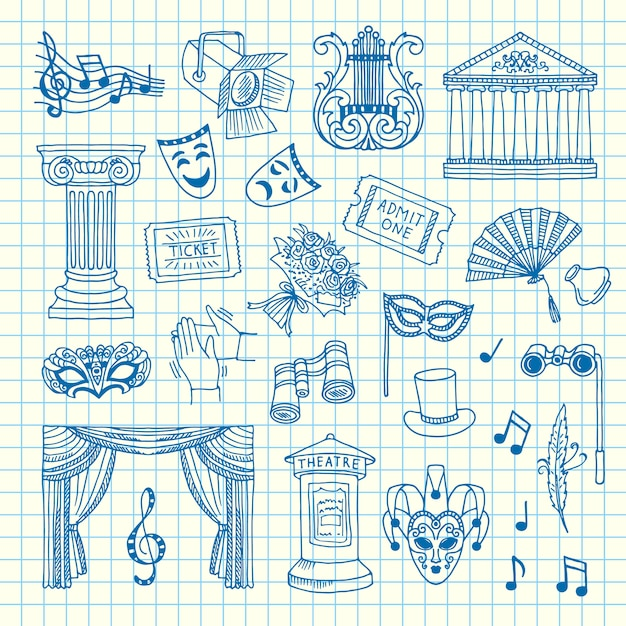 Set of doodle theatre elements on cell sheet illustration Premium Vector