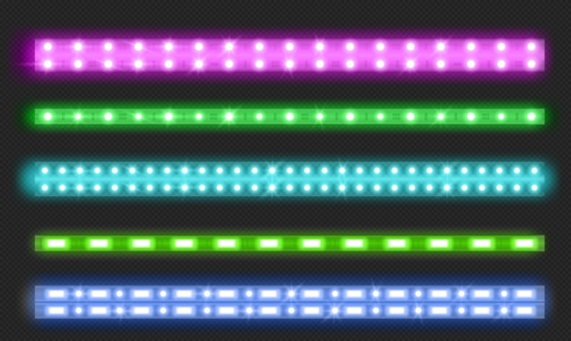 Set of double row led strips Free Vector