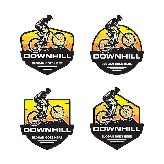 Set of downhill logo template Premium Vector