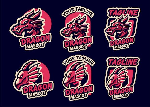 ドラゴンロゴのeスポーツチームを設定する Premiumベクター