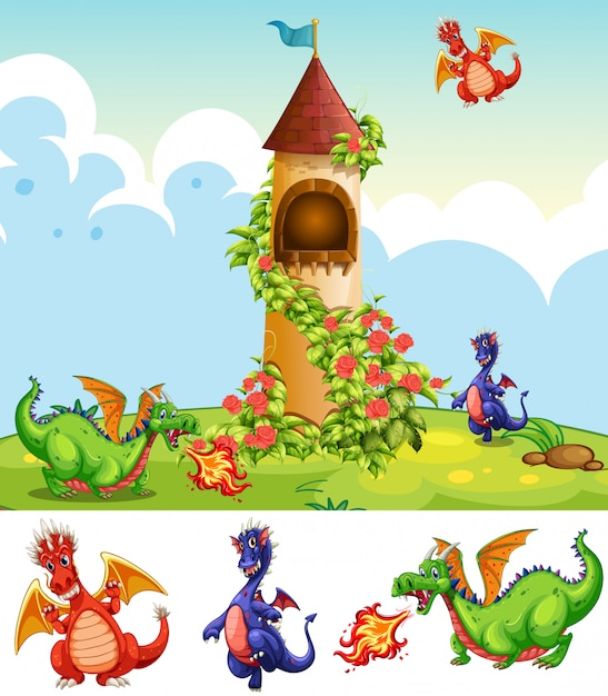 Set of dragons in castle scenery Free Vector