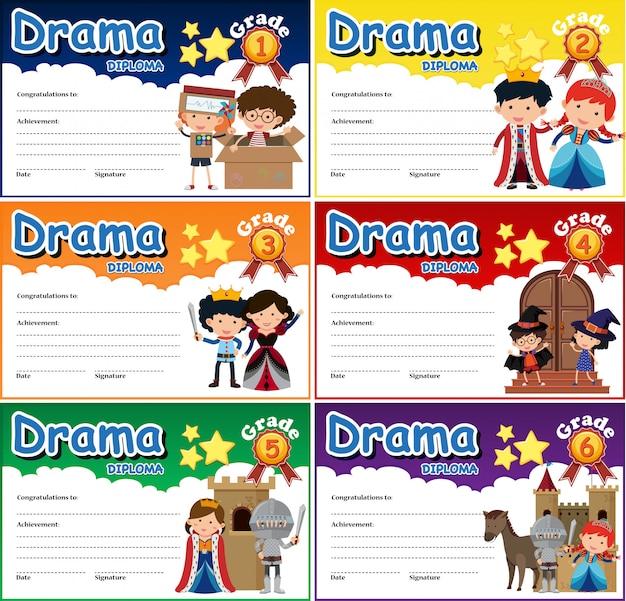 Set of drama diploma certificate template Premium Vector