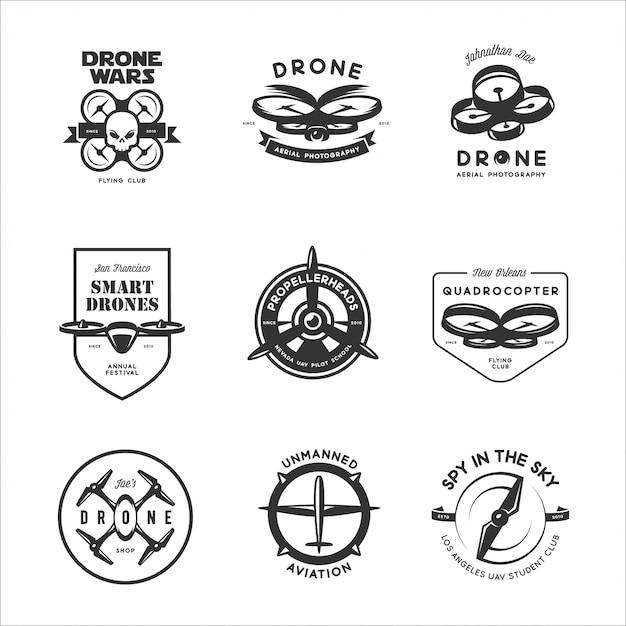 set of drone flying club labels vector premium download. Black Bedroom Furniture Sets. Home Design Ideas