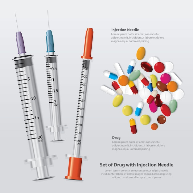 Set of drug  with injection needle realistic Premium Vector