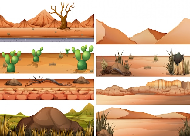 Set of dry land Free Vector