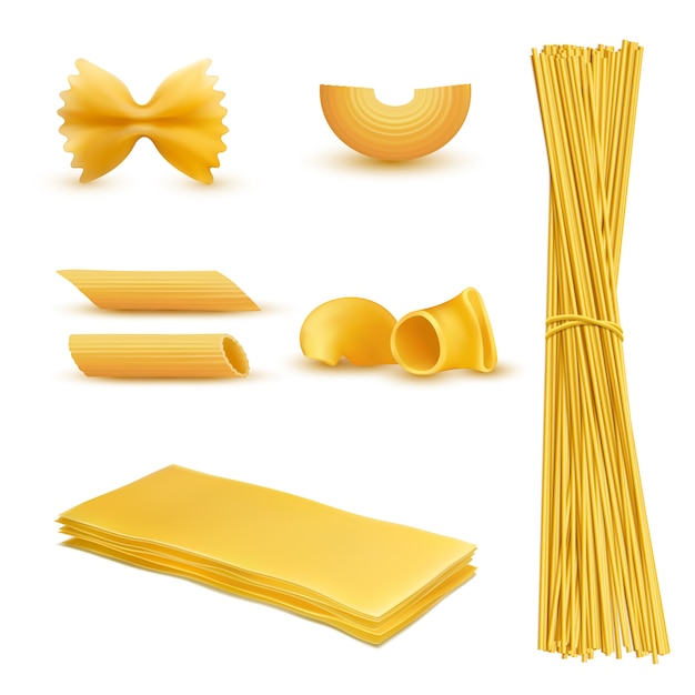 Set of dry macaroni in various shapes, pasta, lasagna, farfalle, spaghetti Free Vector