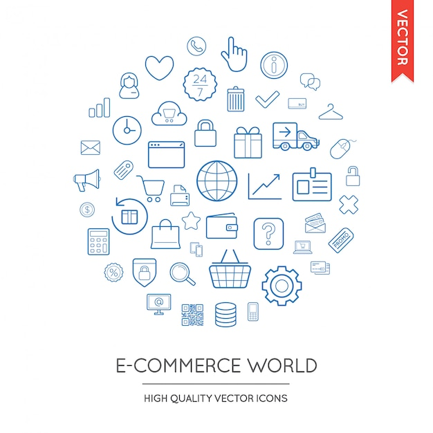 Set of e-commerce modern flat thin icons inscribed in round shape Premium Vector