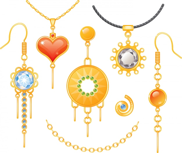 Set of earrings and necklaces Premium Vector