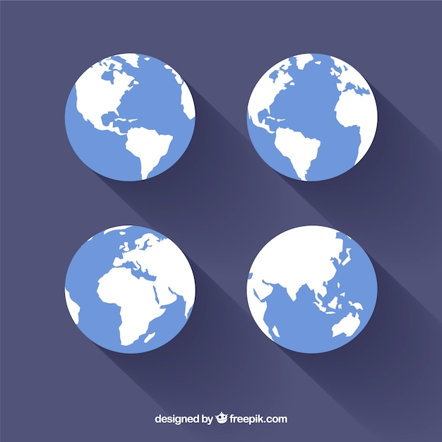 Set of earth in flat design Free Vector