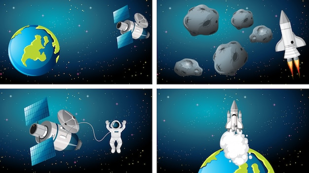 Set of earth and rocket scenes background Free Vector