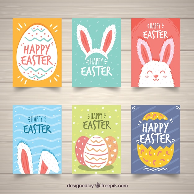 Set of easter day cards in hand drawn style Free Vector