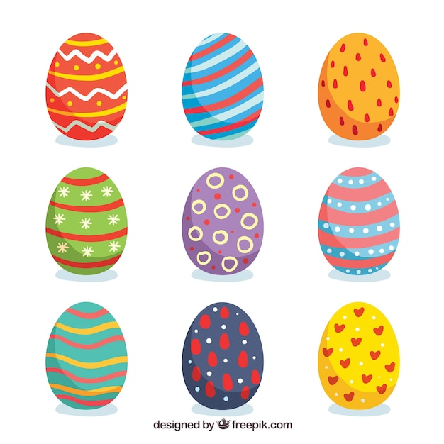 Set of easter day eggs in flat style Free Vector