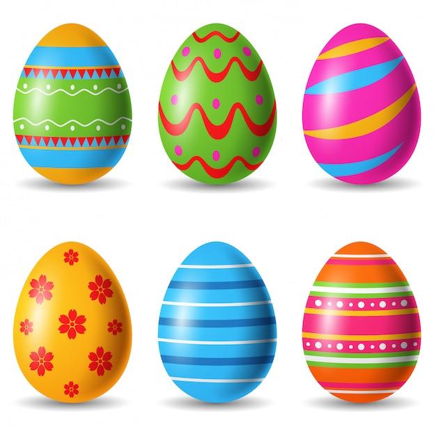 Set of easter eggs decorative. illustration Premium Vector