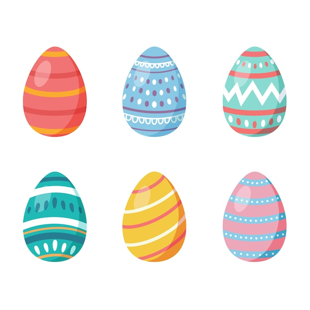 Set of easter eggs with different texture Premium Vector