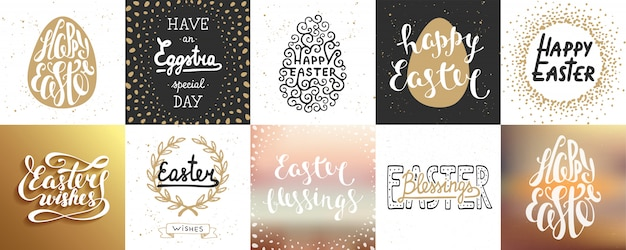 Set of   easter lettering posters and cards Premium Vector