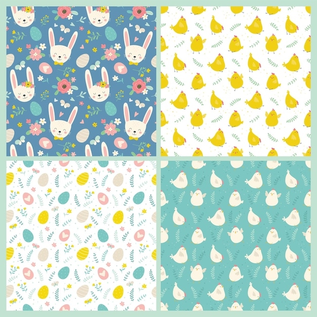 Set of easter seamless patterns Premium Vector