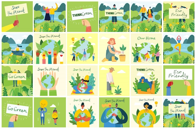 Set of eco save environment pictures. people taking care of planet collage Premium Vector