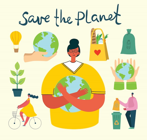 Premium Vector | Set of eco save environment pictures. people taking care  of planet collage.