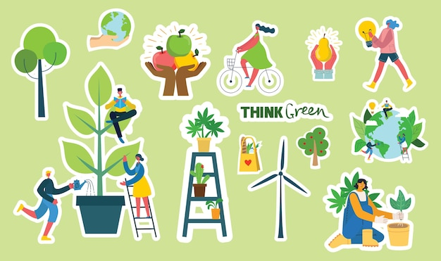 Set of eco save environment stickers pictures. Premium Vector