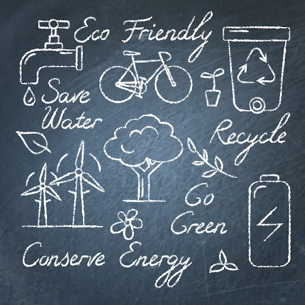 Set of ecology icons and text on chalkboard Premium Vector