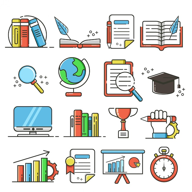 Set of education icons and elements Premium Vector