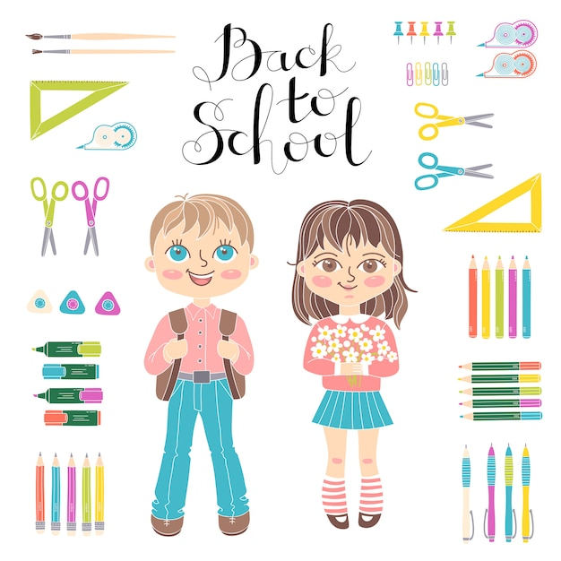 Set educational elements of design. students girl and boy. lettering back to school. Premium Vector
