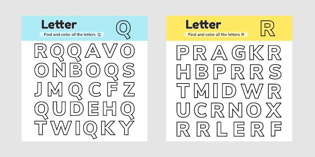 Premium Vector Set Educational Worksheets For Kids Kindergarten Preschool  And School Age Letters Find And Color