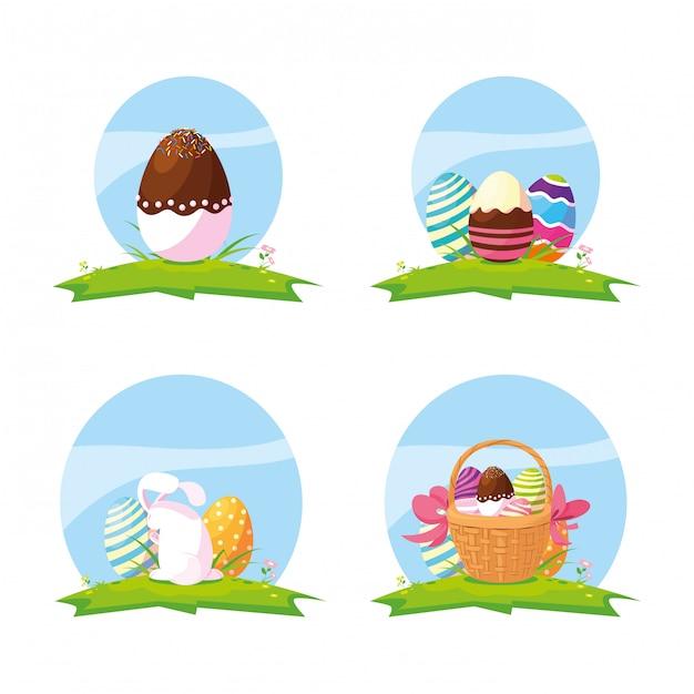 Set of eggs and cute rabbit easter Premium Vector