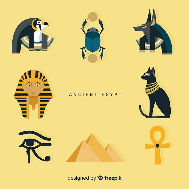 Set of egyptian symbols in flat design Free Vector