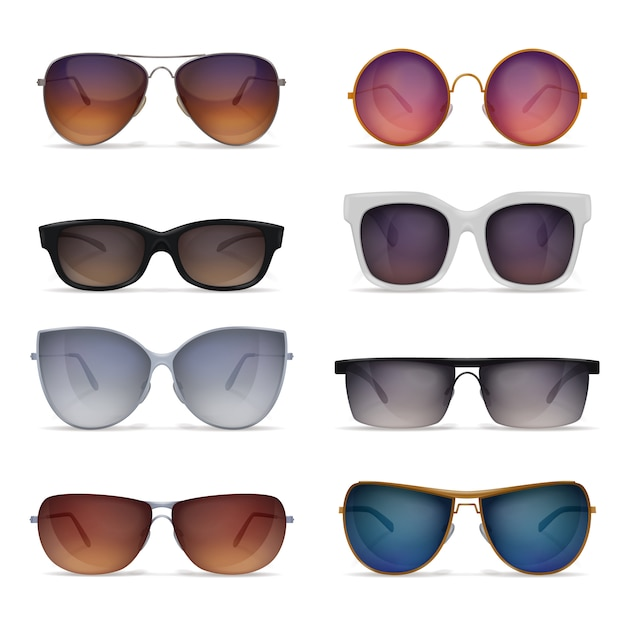 Set of eight isolated sunglasses realistic images with sun goggles models of different shape and colour Free Vector