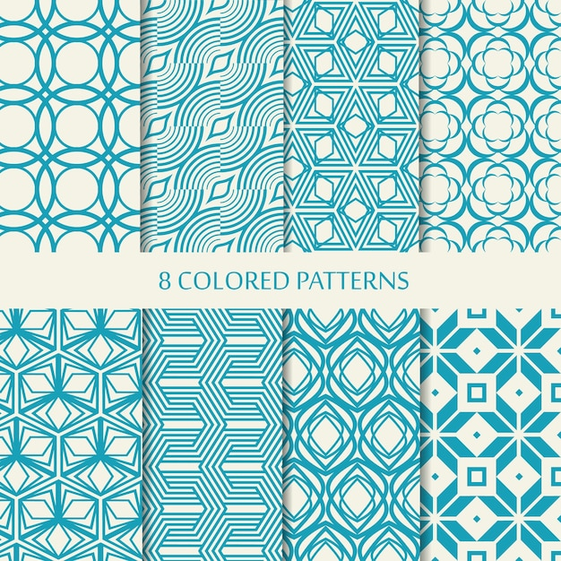 Set of eight seamless chevron patterns in blue and white colors with collection of different stylish shapes and chevron repeating elements Free Vector