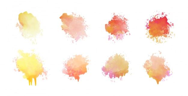 Set di otto macchie di acquerello scenografia Vettore gratuito