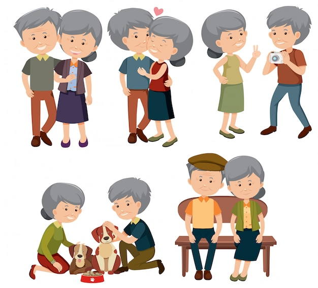 A set of elderly couple Premium Vector