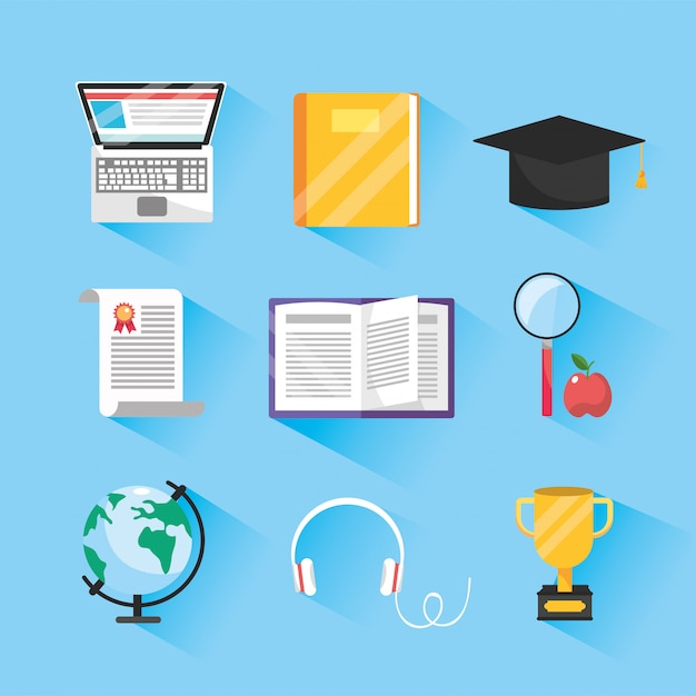 Set elearning online study and digital education Premium Vector