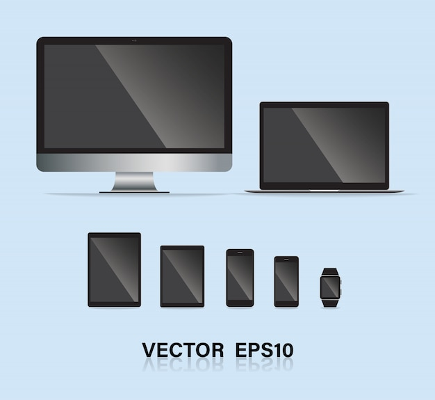 Set of electronic gadget. Premium Vector