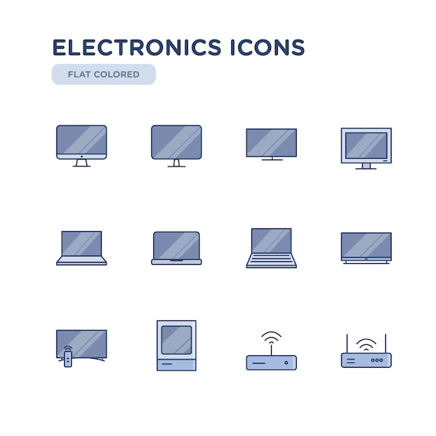 Set of electronics related vector colored icons. contains such icons as television, computer, laptop, wi-fi and more. Premium Vector