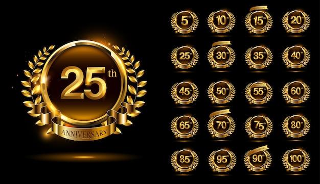 Set of elegance anniversary celebration logo with ring and ribbon, & wreath design Premium Vector