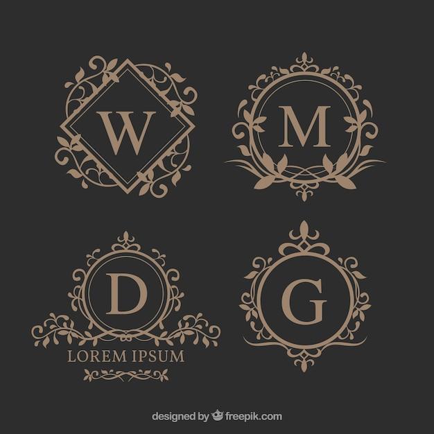 Set of elegant floral monograms Free Vector