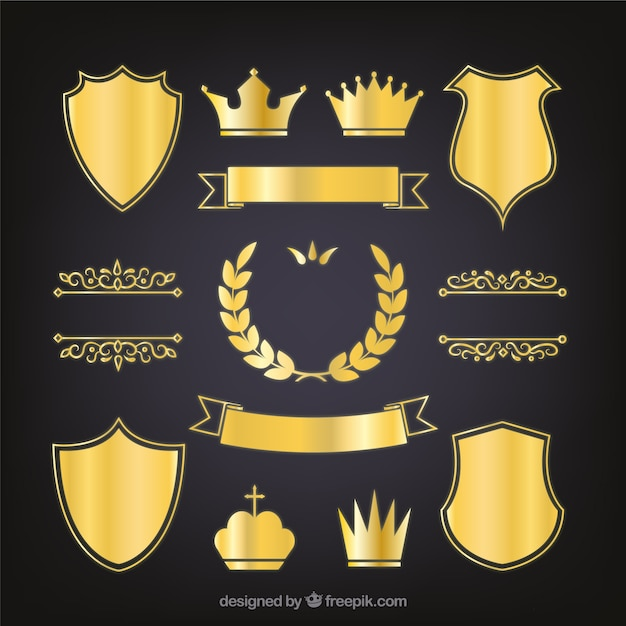 Set of elegant golden heraldic shields Free Vector