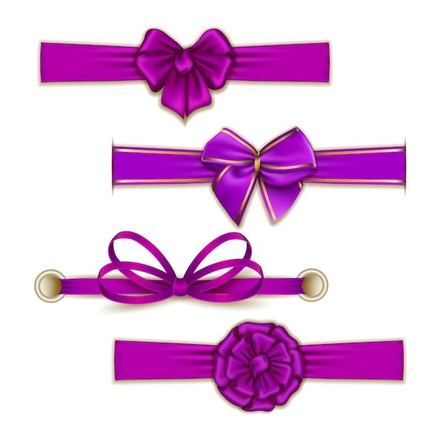 Set of elegant silk colored bows Premium Vector