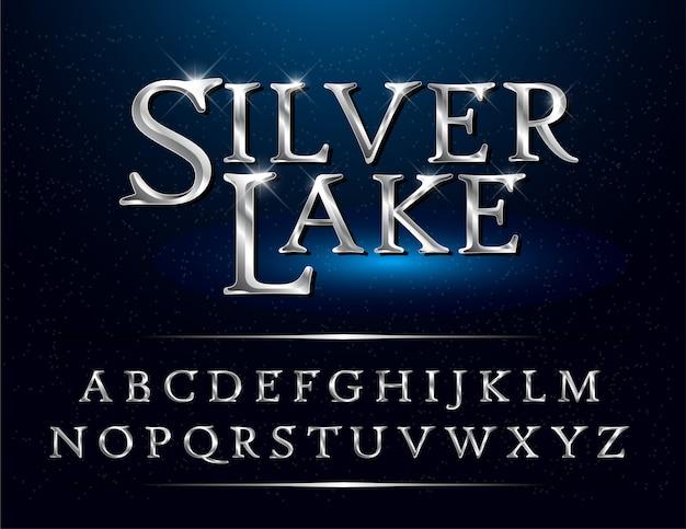Set of elegant silver colored metal chrome alphabet font Premium Vector