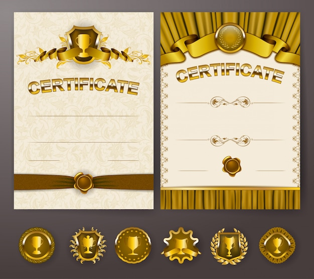 Set of elegant templates of diploma with lace ornament Premium Vector