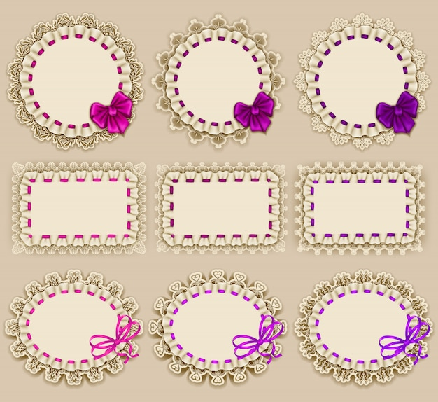 Set of elegant templates of frame design for luxury invitation Premium Vector