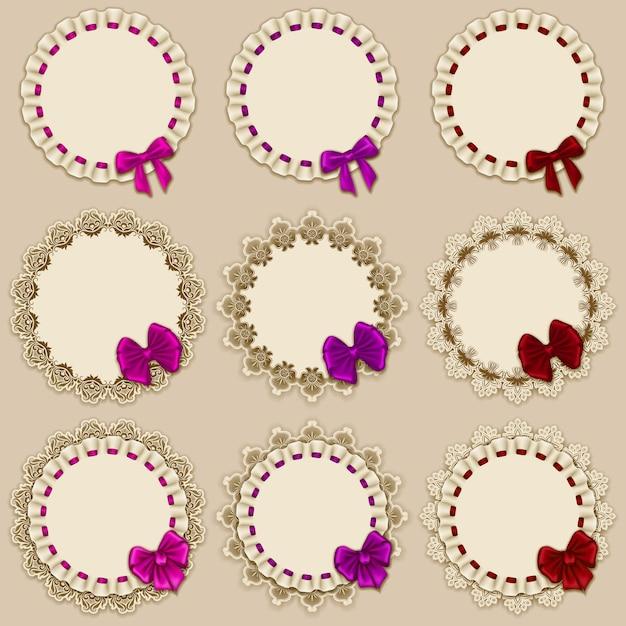 Set of elegant templates frame design Premium Vector