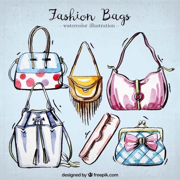 Set of elegant watercolor handbags Free Vector