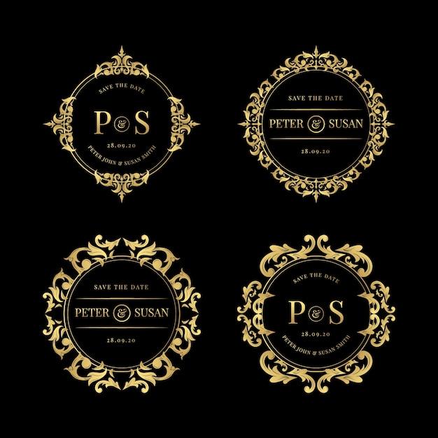 Set of elegant wedding logos Free Vector