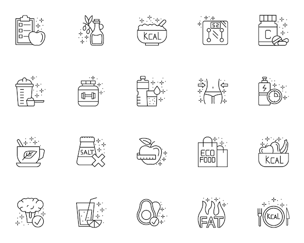 Set of element of diet outline icons Premium Vector