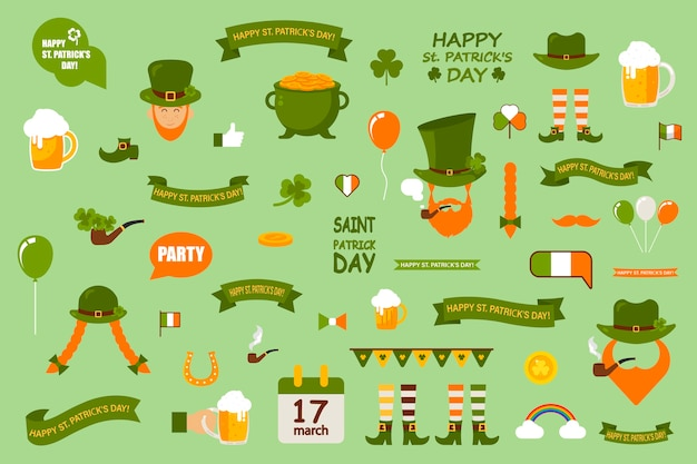 Set of  elements on a green background. st. patrick's day is celebrated in ireland. a set of templates of thematic elements. Premium Vector